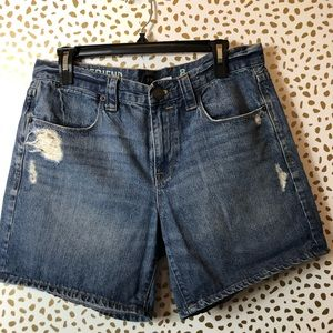 JCREW distressed mid-length blue shorts SZ 8